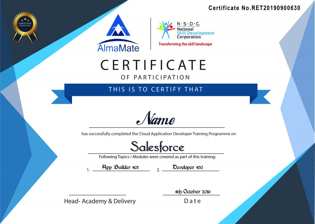 Salesforce Online Training Certificate AlmaMate